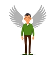 Hipster Businessman with Wings Angel in flat vector image vector image