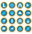 hunting icons blue circle set vector image vector image