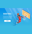 isometric basketball banner vector image vector image