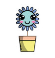 kawaii beauty and happy flower plant vector image vector image