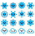 Kawaii snowflakes clouds with snow - Christmas vector image