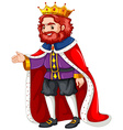 King in purple costume and red robe vector image vector image