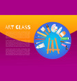 lettering art class background information vector image