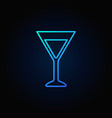martini glass blue icon vector image vector image