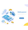 mobile payment flat isometric concept vector image vector image
