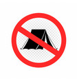 no camping sign symbol icon vector image vector image