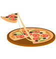 olive pizza with basil leaves cartoon vector image