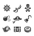 Pirate Icons Skull and chest pirates treasure vector image