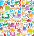 school icons seamless pattern vector image vector image