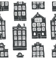 seamless pattern with outline scandinavian houses vector image vector image