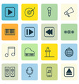 set of 16 multimedia icons includes start song vector image