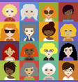 set of woman avatar icons in flat style vector image