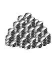 silhouette a heap coins a pile treasure vector image