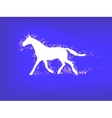 Silhouette of a running horse on a blue background vector image vector image