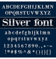 silver coated alphabet letters and digits on blue vector image