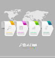 simple arrow tag infographic 4 options with world vector image