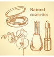 Sketch beauty equipment with orchid vector image vector image