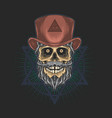 skull with hat freemasonry gra vector image vector image