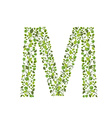 Spring green leaves eco letter M vector image
