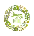 Spring is comingGreen Leaves wreathlettering vector image vector image
