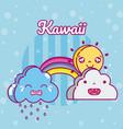 sunny day kawaii cartoons vector image