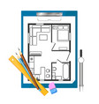 tablet paper and drawing apartment plan vector image vector image