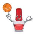 with basketball nail polish character cartoon vector image