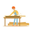 young carpenter man working with wood in his vector image vector image