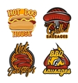Creative set of logos design with bbq sausages vector image