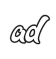 ad a d black and white alphabet letter logo vector image