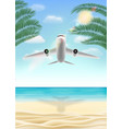 air plane flying travel to sea sand beach vector image vector image
