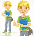 Blond teenage boy with a textbook shows ok vector image vector image
