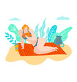bodipositive beach people fat woman attractive vector image vector image