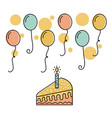 cake candle and balloons flying decorative party vector image