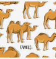 camel silhouettes set pattern vector image