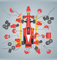 cartoon maintenance racing car card poster vector image vector image
