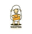 cartoon wooly sheep mascot with big envelope vector image vector image
