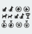 cat and dog competition and awards icon set vector image