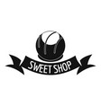 chocolate sweet shop logo simple black style vector image vector image