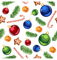 christmas ornaments and candy canes seamless vector image