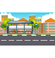 City scene with bus stop and buildings vector image vector image