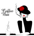 coffee bar with woman smoking cigarette vector image vector image