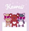 cute animals kawaii cartoons vector image