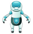 cute cartoon blue robot isolated on white backgrou vector image vector image