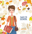 cute girl with books on colorful autumn background vector image vector image