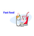 cute hot dog ice cream and soda fast food set vector image