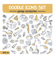 doodle icons set - garage accessories vector image