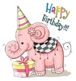 Elephant with gift vector image vector image
