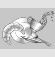 falling coffee cup saucer plate spoon and bagel vector image