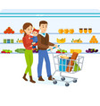 family walking around store and takes fresh food vector image vector image